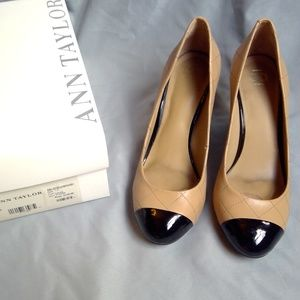 Ann Taylor QUILTED LEATHER BLOCKED Heels 7.5